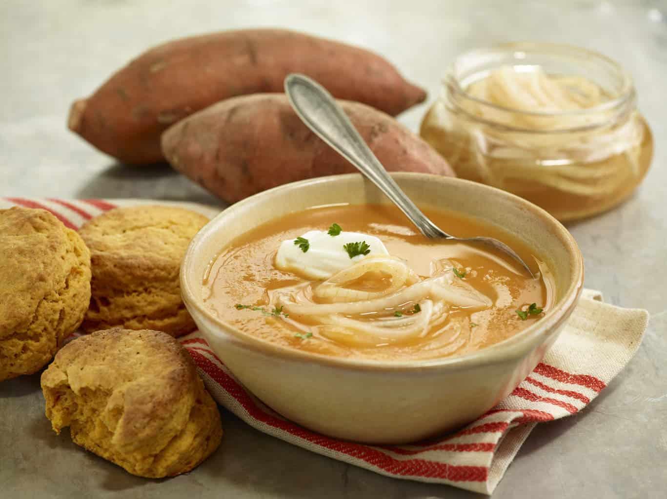 Sweet Potato Soup and Marinated Sweet Onions