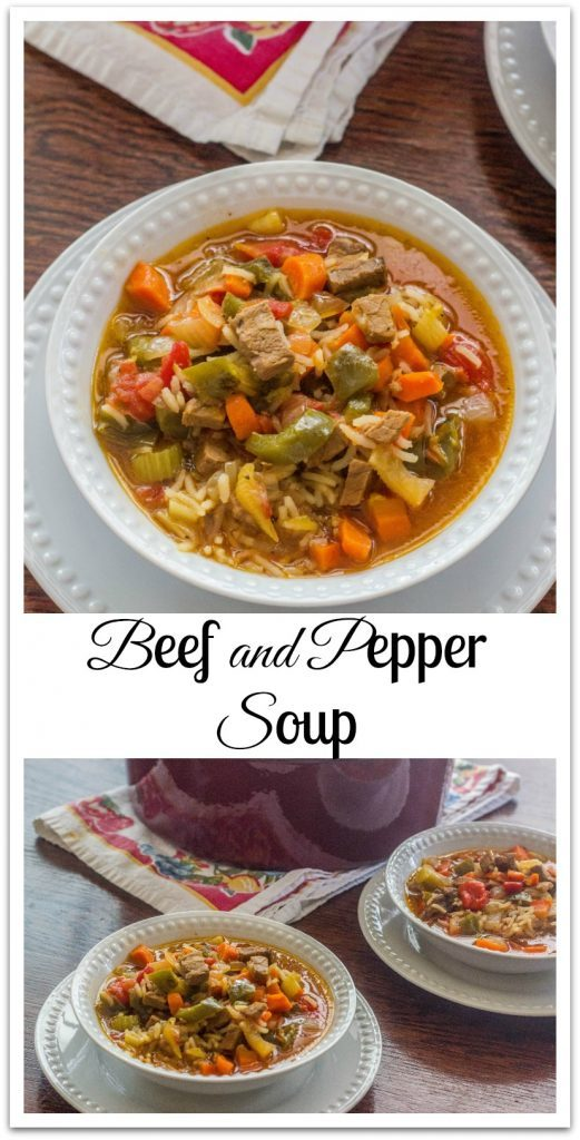 Beef and Pepper Soup. Leftover beef roast combined with bell peppers, carrots, onions, celery and Basmati rice.