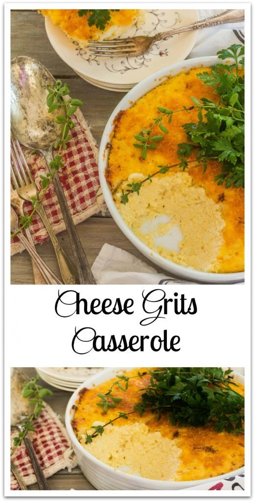 Cheese Grits Casserole in baking dish and plate.