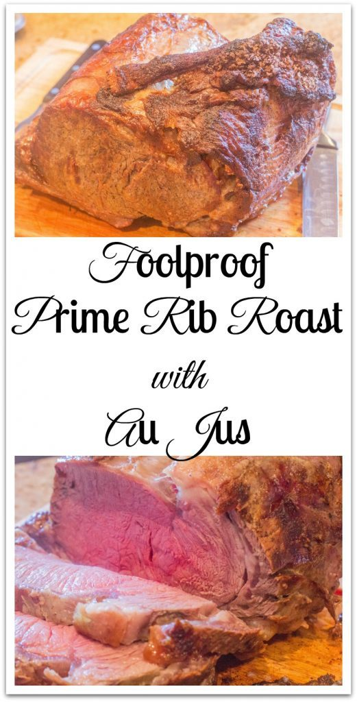 Foolproof Prime Rib Roast with Au Jus on plate.