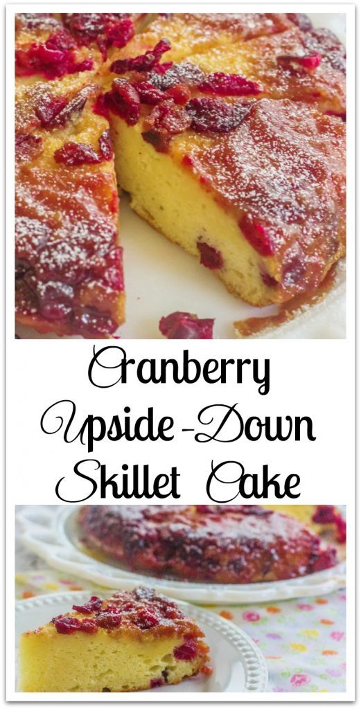 Cranberry Upside-Down Skillet Cake. A cream cheese skillet cake and a cranberry caramelized topping.