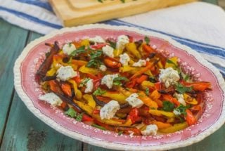 Simple Roasted Sweet Bell Peppers with Herbed Goat Cheese. Colorful and delicious sweet peppers roasted and served with a sprinkling of herbed goat cheese. #freshfromflorida #ad