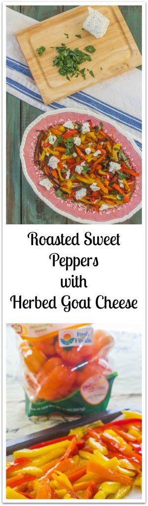 Simple Roasted Sweet Peppers with Herbed Goat Cheese. Colorful and delicious sweet peppers roasted and served with a sprinkling of herbed goat cheese. #freshfromflorida #ad