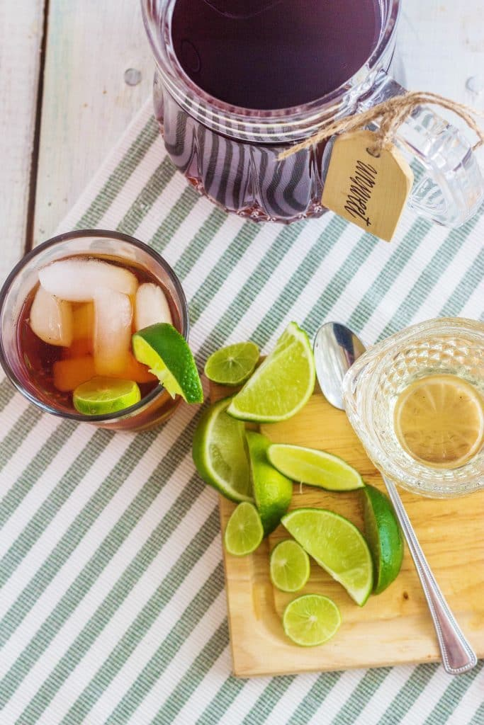 Barbados Tea. Brewed tea served West Indies style sweetened with simple syrup and served with lime.