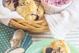 Blueberry Cream Biscuits with Blueberry Lime Butter. Easy-to-make cream biscuits don't require rolling or cutting.