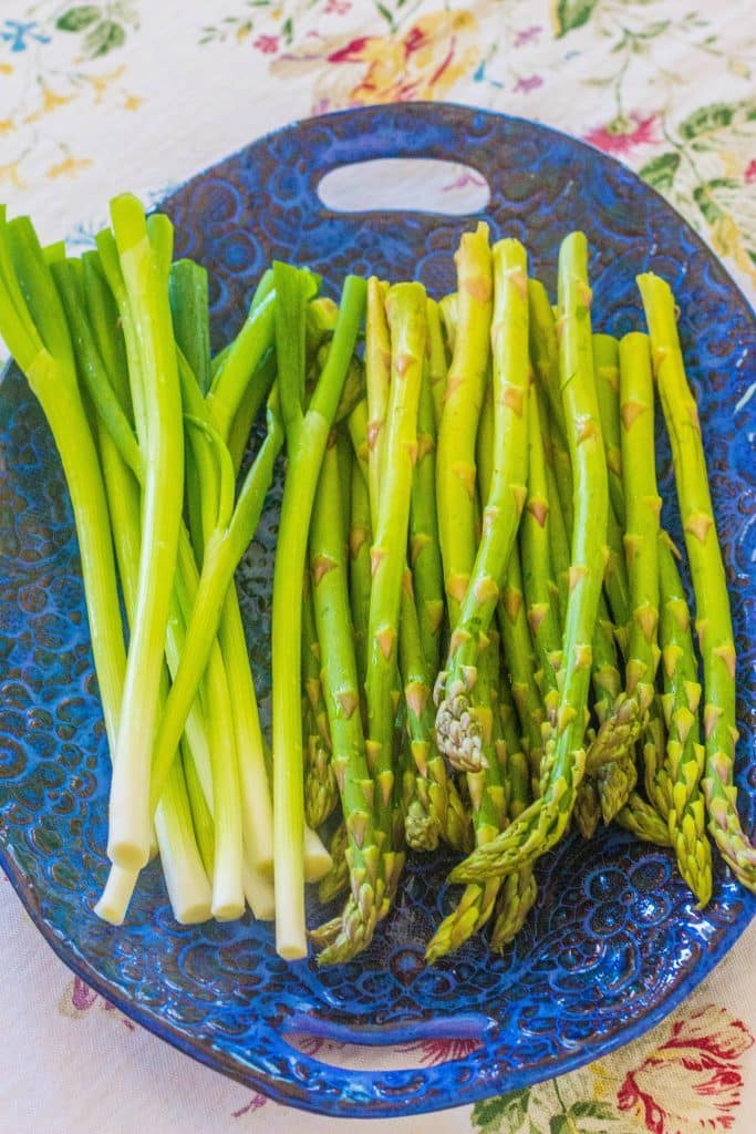 Grilled Asparagus and Spring Onions with Honey Lime Vinaigrette. Fresh asparagus and spring onions are coated in honey lime vinaigrette and quickly grilled.