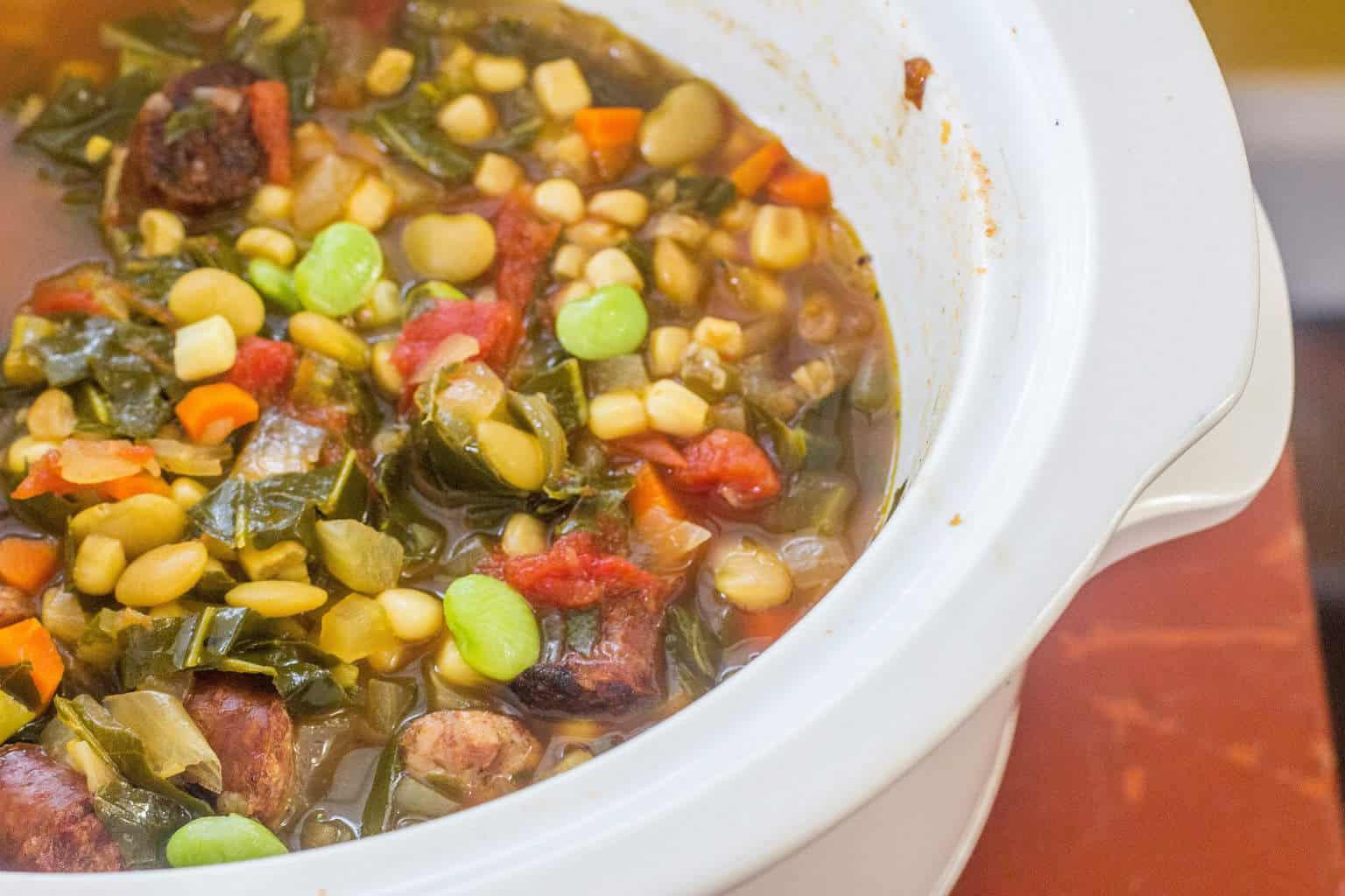 Sausage and Succotash Soup with Collards