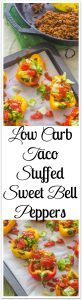 Low-Carb Taco Stuffed Sweet Bell Peppers. Sweet, crunchy, and colorful bell peppers replace corn tortillas for a low carb version of tacos.