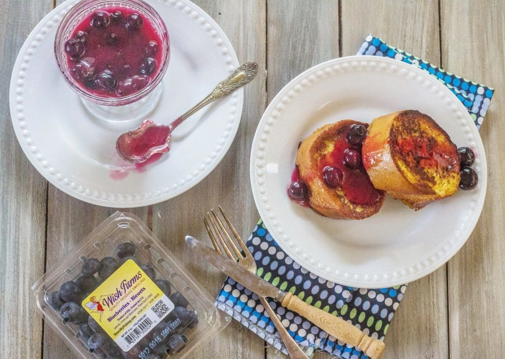 Overnight French Toast with Fresh Blueberry Orange Syrup. French bread slices soaked in custard, remain in refrigerator overnight. In the morning, cook the French bread slices and make easy Blueberry Orange Sauce.