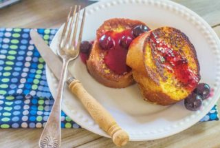 Overnight French Toast with Fresh Blueberry Orange Sauce. French bread slices soaked in custard, remain in refrigerator overnight. In the morning, cook the French bread slices and make easy Blueberry Orange Sauce.