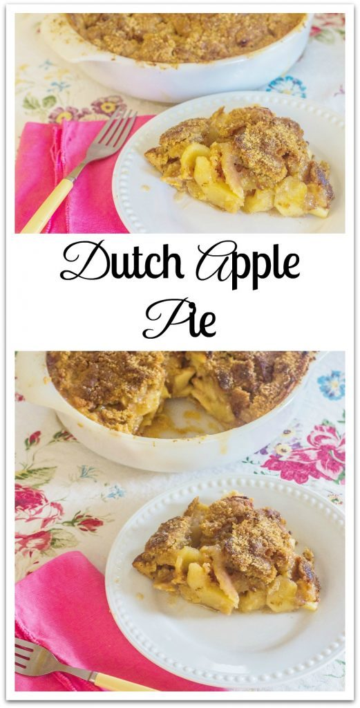 Dutch Apple Pie. An mixture of fresh apple slices, sugar and spices, topped with a brown sugar crumble topping.