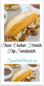 Slow-Cooker French Dip Sandwich. Beef roast and onions slow cook in seasoned stock until tender. Serve on a toasted cheese roll with a side of broth for dipping.