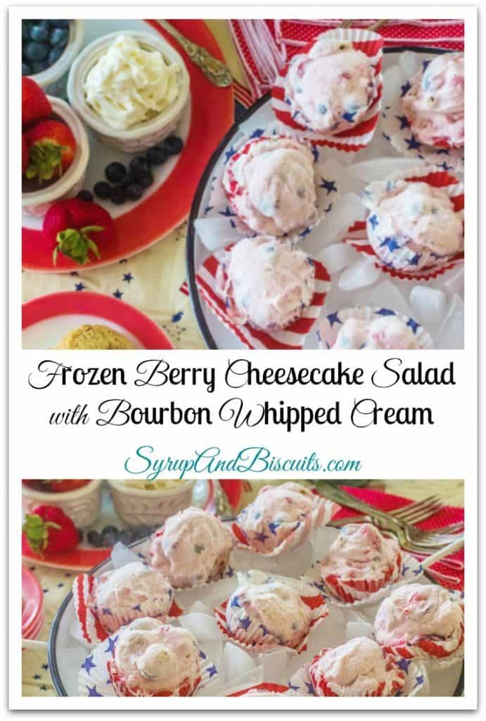 Frozen Berry Cheesecake Salad with Bourbon Whipped Cream. Shortbread cookie crumbles, bourbon whipped cream and fresh strawberries and blueberries are folded into a cheesecake like base and frozen.