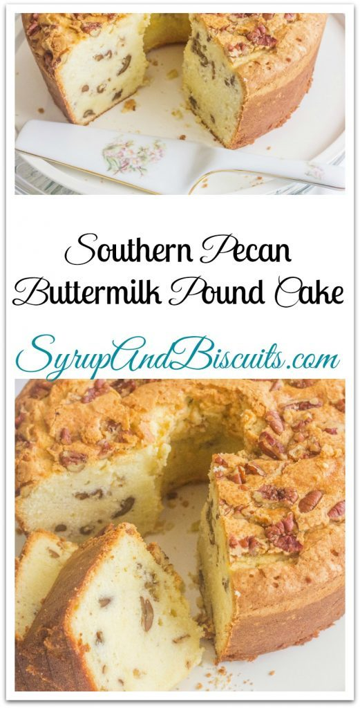 Southern Pecan Buttermilk Pound Cake on platters.