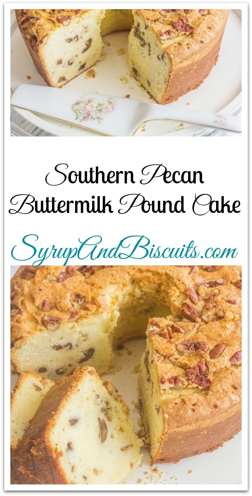 Southern Pecan Buttermilk Pound Cake. A traditional Southern pound cake with added flavor from pecans. Pound cakes are best know for their dense texture. #syrupandbiscuits #PoundCake #SouthernPecan