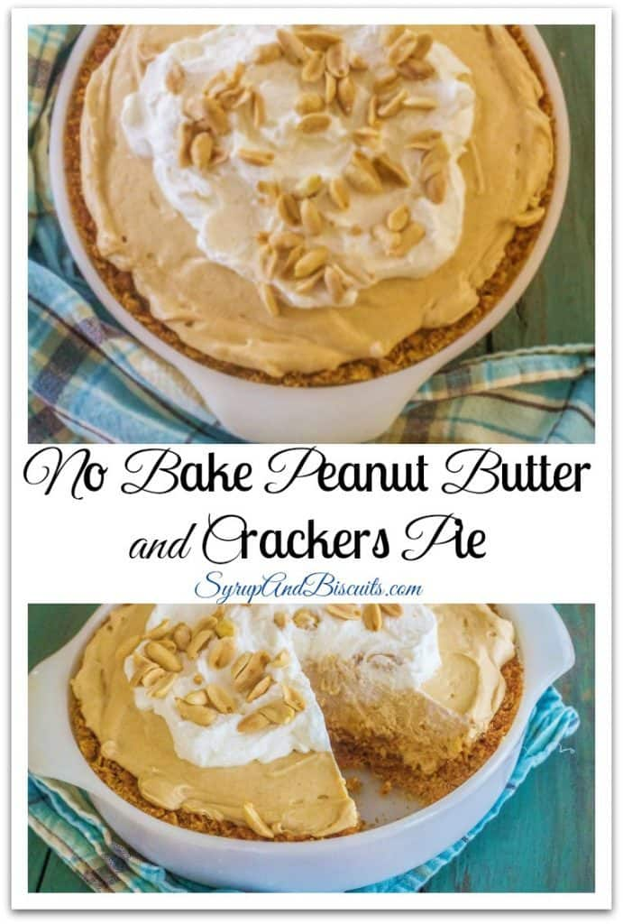 No Bake Peanut Butter and Crackers Pie. Inspired by a favorite snack of peanut butter and Ritz crackers. A buttery cracker crust is lined with a peanut butter and honey layer and topped with fluffy cream cheese and peanut butter filling.