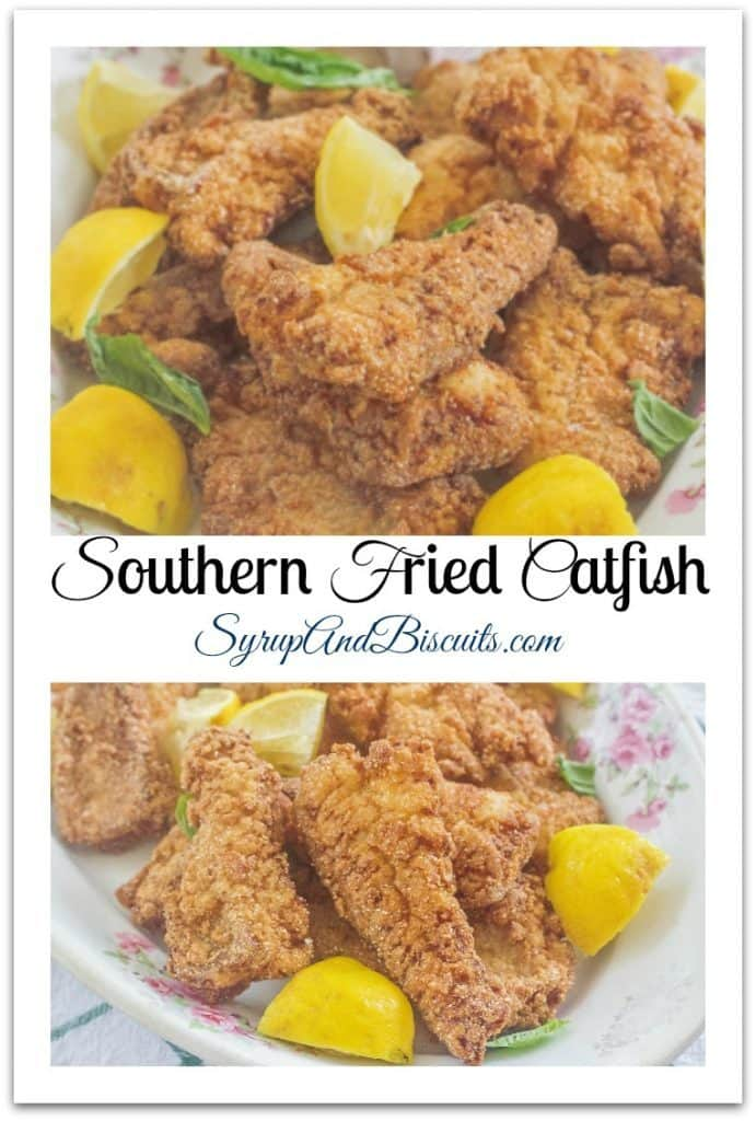 Southern Fried Catfish with lemons on plate.