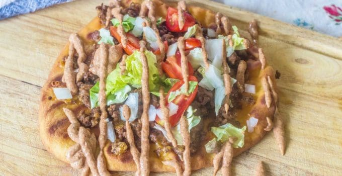 Grilled Flatbread Taco Pizza with Creamy Taco Sauce