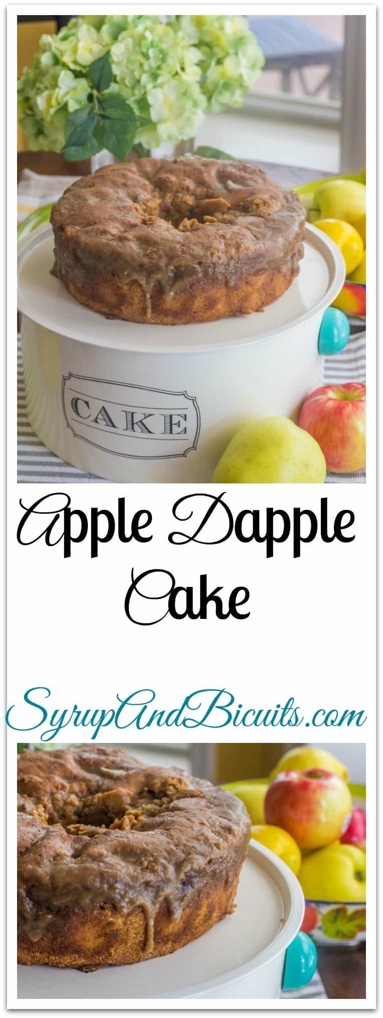 Apple Dapple Cake is an old hand-me-down recipe that's been in my files for over 40 years.  It's fresh apples and chopped pecans held together with just the right amount of a cinnamon and vanilla batter. #AppleDappleCake #ApplesAndPecans