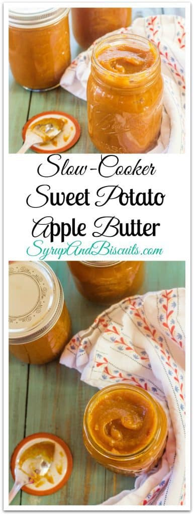 Slow-Cooker Sweet Potato Apple Butter in jars.