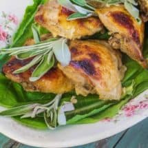 Buttermilk Sage Brined Roasted Chicken Thighs are tender , juicy, and packed full of flavor.  Buttermilk not only flavors but tenderizes, also.  The amount of seasoning in the brine is sufficient.  No need for more salt and pepper before cooking.