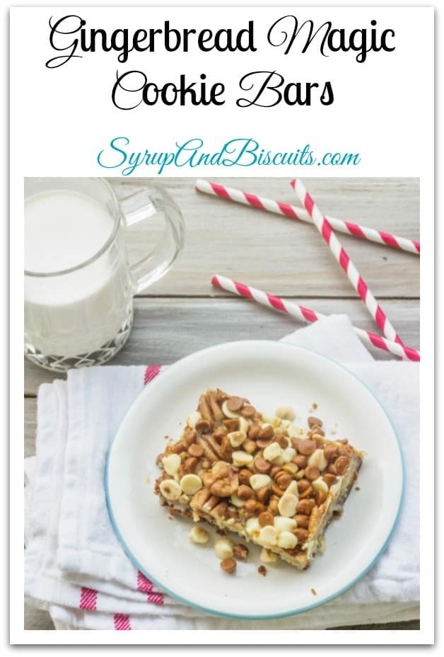 Gingerbread Magic Cookie Bars is a variation of the vintage recipe for Magical Cookie Bars.  Gingersnap cookies and orange juice form a crust that's reminiscent of gingerbread cake. The layers of coconut, white chocolate, cinnamon chips, and toffee chips add a delightful spin to the classic recipe.#cookie #syrupandbiscuits #gingerbread