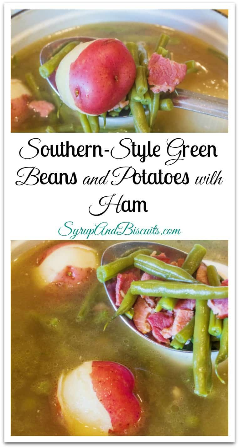 Southern-Style Green Beans and Potatoes with Ham is an easy, one-pot recipe that makes a hardy side or one-pot meal.#GreenBeans #PotatoesAndHam