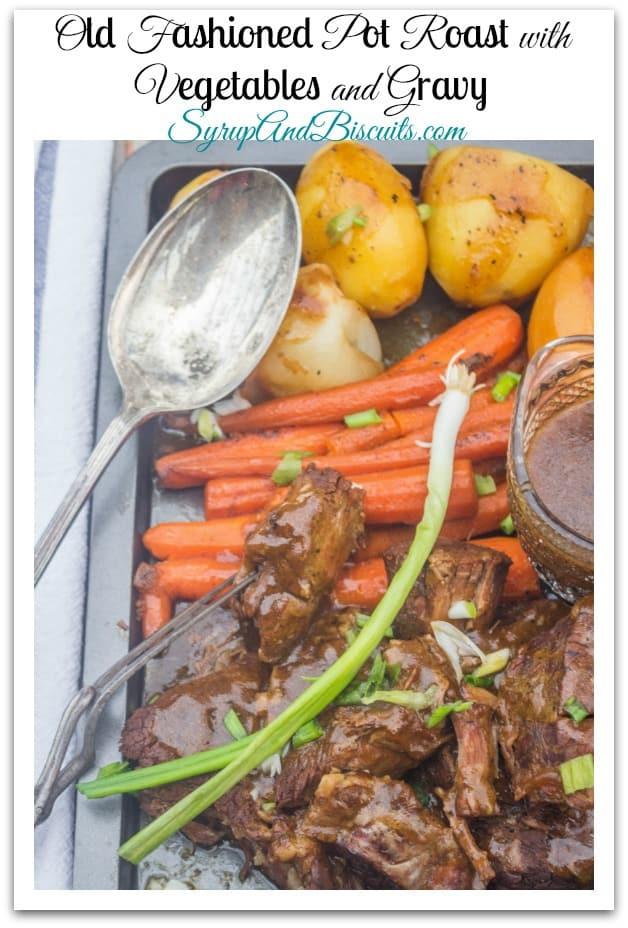 pot roast, vegetables and gravy on a platter