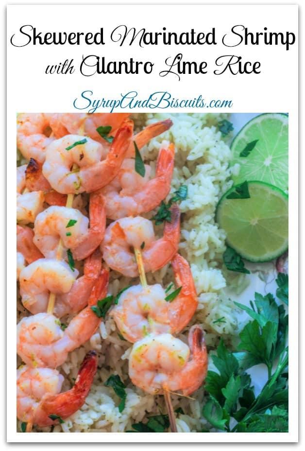 Skewered Marinated Shrimp with Cilantro Lime Rice. Shrimp marinated in a honey lime sauce, skewered , grilled, and served with a cilantro lime rice mix.  #shrimp #rice #zatarains