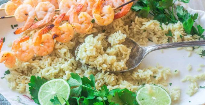 Skewered Marinated Shrimp with Cilantro Lime Rice