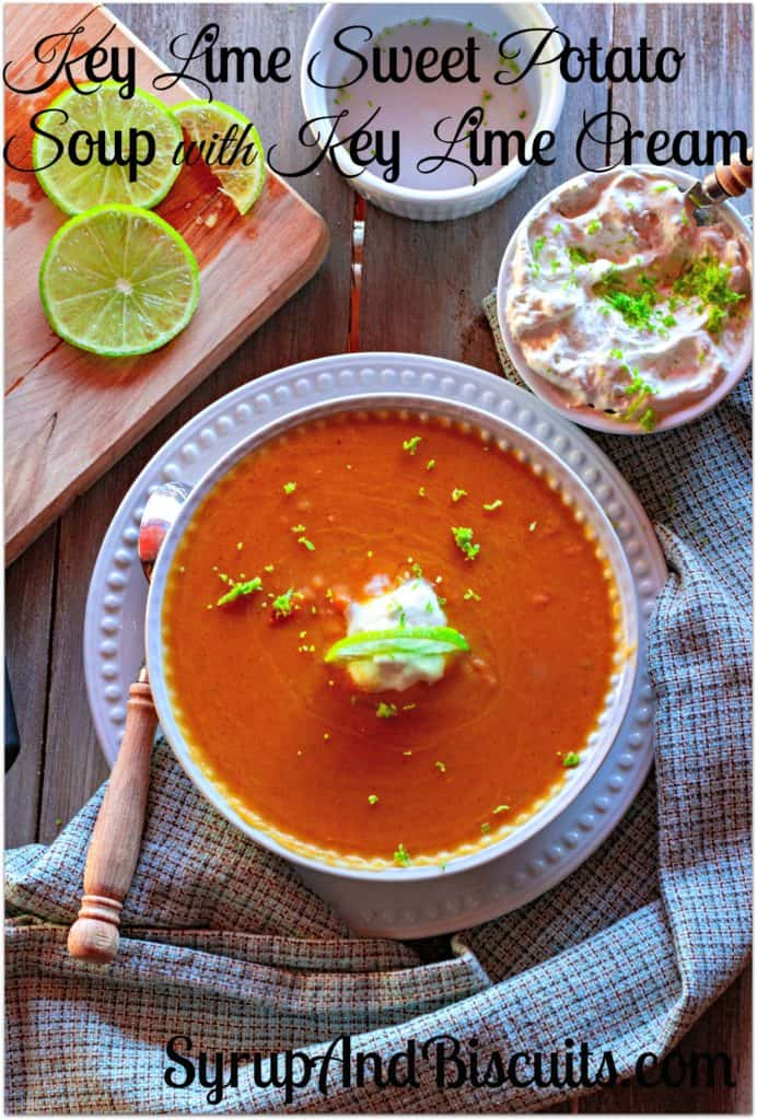sweet potato soup with key lime cream for Pinterest