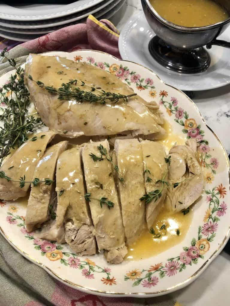 Turkey breast with Gravy on a platter